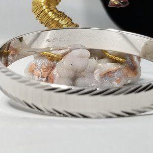 MONET Silver Tone Diamond Cut Bangle Bracelet